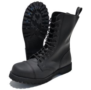 Boots and Braces 10-loch Stiefel mit Stahlkappe in Flat matt-schwarz
