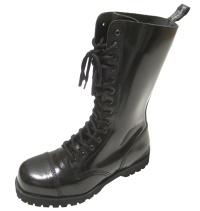 Boots & Braces 14 Loch Stiefel mit Stahlkappe in schwarz mit Rangersohle für Punks Skins und Gothic Fans
