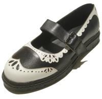 Damen Sandale im Budapesterstil schwarz/weiss Inamagura