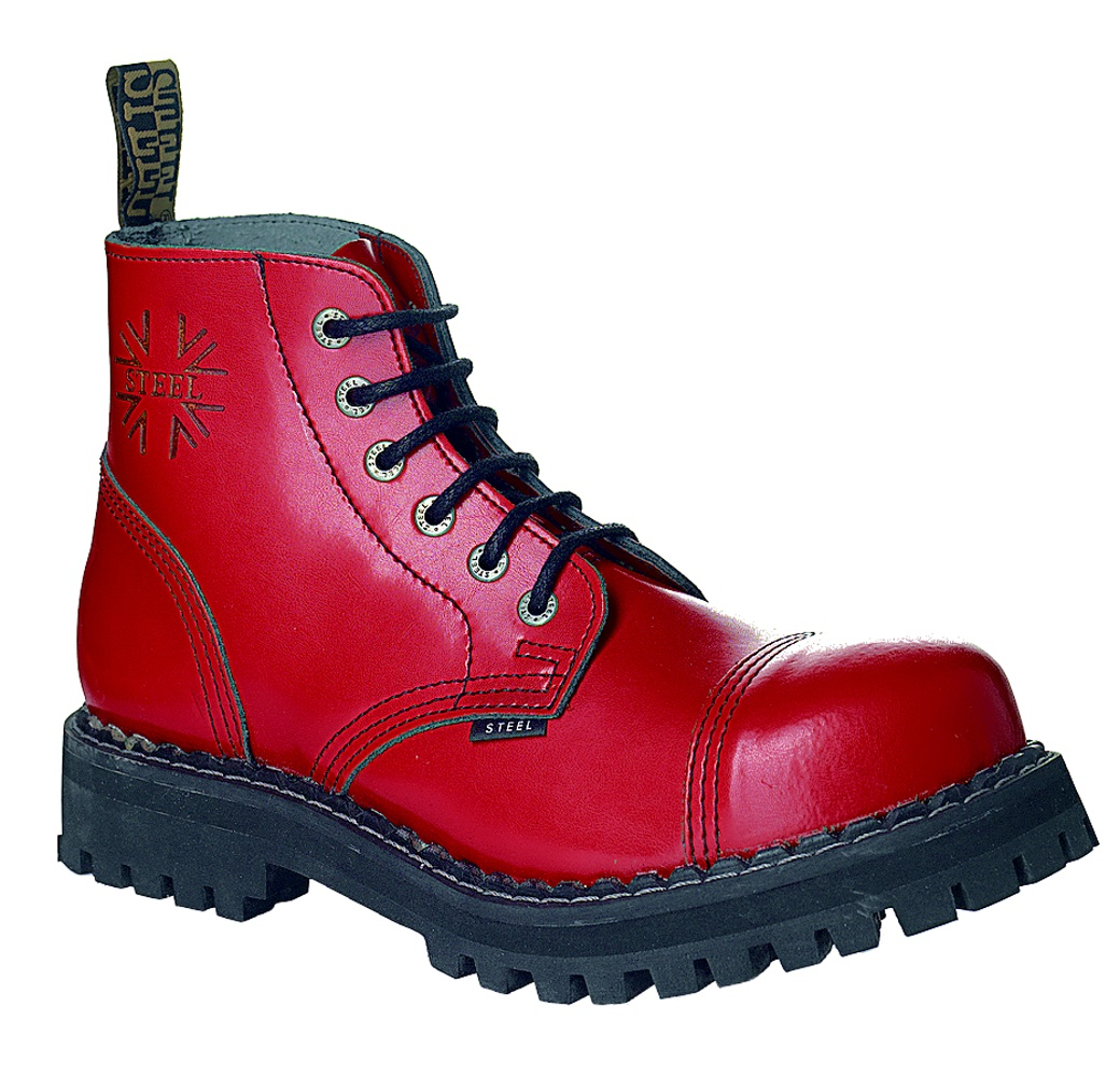 Steel 6Loch Boots rot Steel Boot bei Gothic Onlineshop the